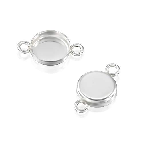 Silver Pendant Sterling Handmade Cabochon (6 Pcs 8mm Round Setting with 2 Loops 925 Sterling Silver Bezel Cup Findings for Pendants Bracelets Earrings)