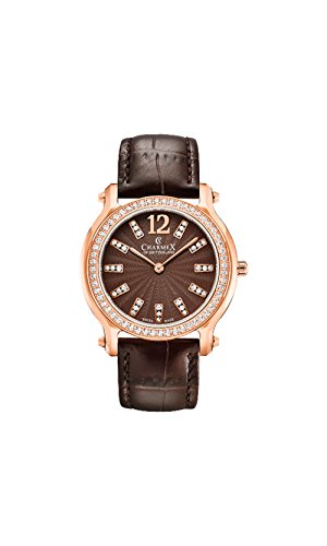 Charmex Women's EZE 31.5mm Brown Leather Band Steel Case Sapphire Crystal Quartz Analog Watch 6343