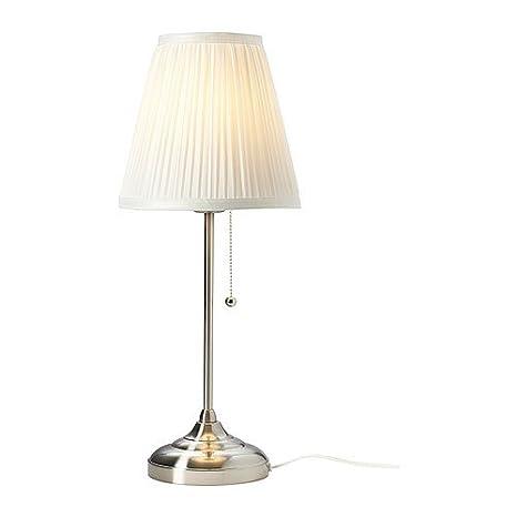 IKEA ARSTID - Lámpara de mesa, niquelado, blanco: Amazon.es: Hogar
