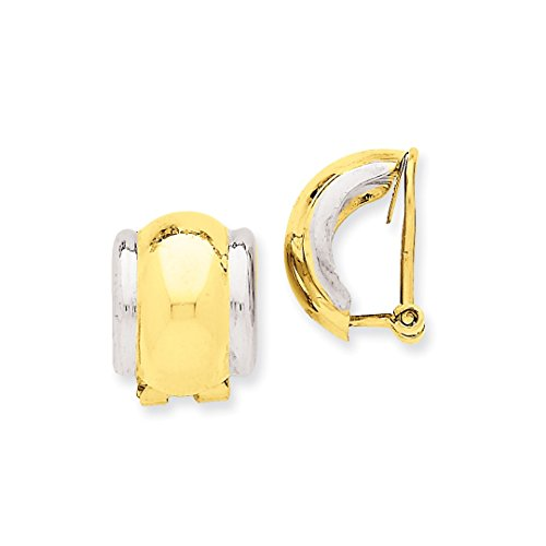 ICE CARATS 14k Two Tone Yellow Gold Omega Clip Non Pierced On Earrings Fine Jewelry Ideal Mothers Day Gifts For Mom Women Gift Set From Heart by ICE CARATS