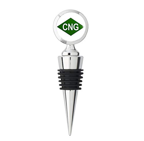 - GREEN Diamond Shaped CNG Logo (compressed natural gas bio fuel) Metal Wine Bottle Stopper