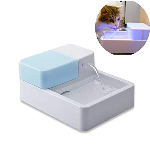 Danm Pet Water Fountain,Cat Water Dispenser Drinking Water Artifact Coconut Shell Activated Carbon Automatic Filtration Cycle, LED Flow Fountain Basin 1.8L mainframe