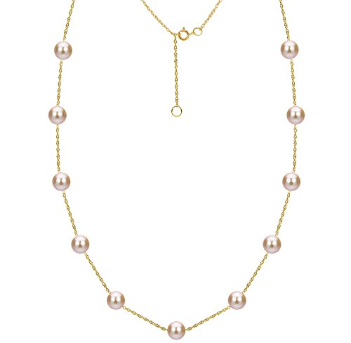 Cup Cultured Necklace Pearl Tin (Tin Cup Station Cultured Freshwater Pink Pearl Necklace 14K Gold Jewelry for Women 18 inch 8-8.5mm)