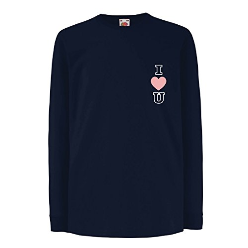 lepni.me T-Shirt For Kids I Love You! Awesome Gift Ideas - Valentines Day, Birthday, Anniversary (9-11 Years Blue Multi Color)