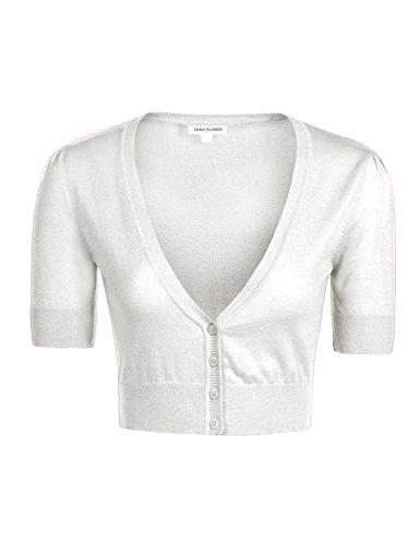 Basic Solid Slim Fit Short Sleeve V-Neck Crop Sweater Borelo Cardigans