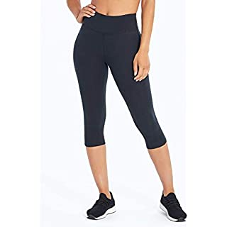 Marika Women's Brooke High Rise Tummy Control Capri Leggings, Black, X-Large