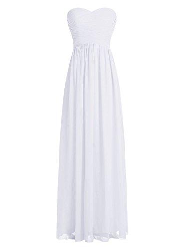 Dressystar Robe de demoiselle d'honneur/de soirée longue formelle Taille 50 Blanc