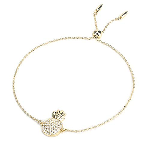 Ash's Choice Adjustable CZ Pineapple Chain Bracelet Hawaii Layered Anklet for Girls (14K Gold)