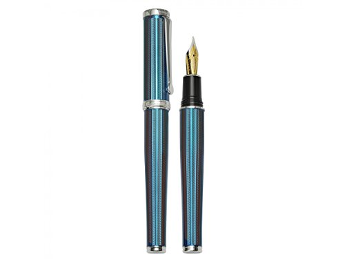 Xezo Architect Azure Blue Medium Fountain Pen Platinum-Plated and -