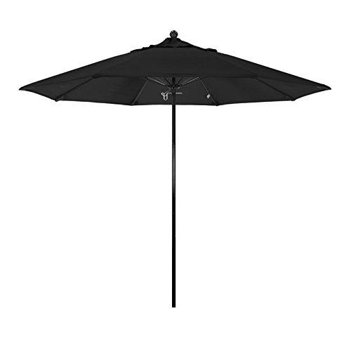 California Umbrella 9' Round 100% Fiberglass Frame Market Umbrella, Push Lift, Black Pole, Sunbrella Black Fabric