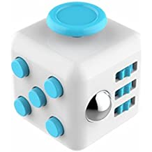 CHIRISEN Fidget Cube Relieves Stress And Anxiety for Children and Adults Anxiety Attention Toy (White Blue)