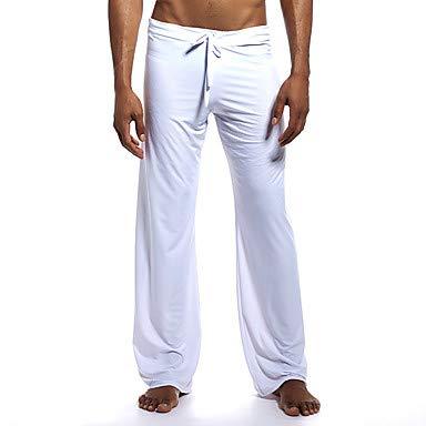 ZML Männer Drawstring Yogahosen Solid Color Ice Silk Fitness Fitness Fitness Fitness Fitness Bottoms Activewear Atembare schnelle trockene Soft Stretchy Lose, Weiß,L