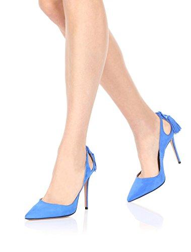 Talon Ubeauty Enfiler Stilettos Houppe Aiguille Bleu Grande Escarpins Taille High Chaussures Heels Femmes Eww4qf