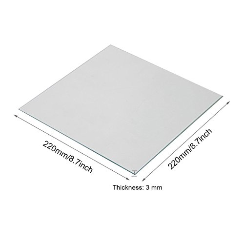 Wisamic Clear Borosilicate Glass Heat Bed 220x220x3mm for 3D Printers MK2/MK2A, Anet A8, Anet A6, Reprap, Mendel