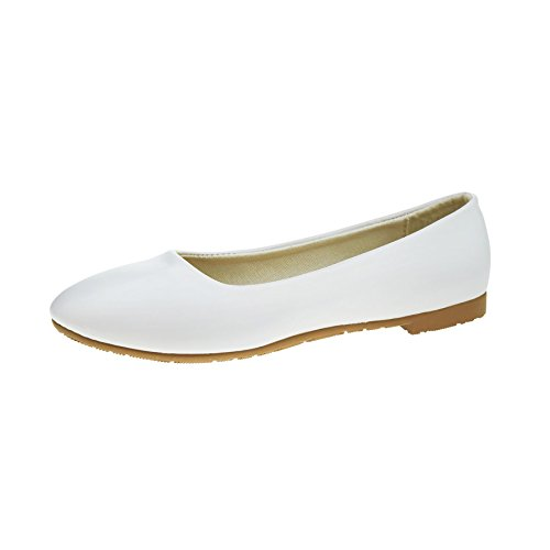White School Womens Work Ladies Flat 3 New Ballerina Office 8 Pumps Dolly Ballet Shoes OpfwWqTB