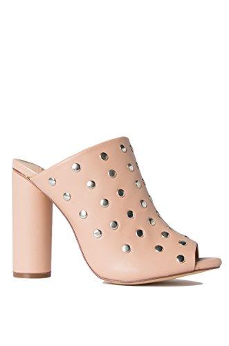 Women's Heart Breaking Beauty Studded Peep Toe Mules-NUDE_8.5