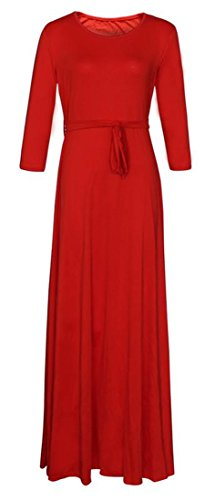 Swing Cruiize Belt Party Long Maxi Prom Dress Elegant Women's Red With Sleeve S6q7I