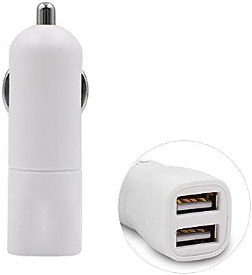 LIDAUTO Cargador de Coche Mini Adaptador USB Dual Blanco