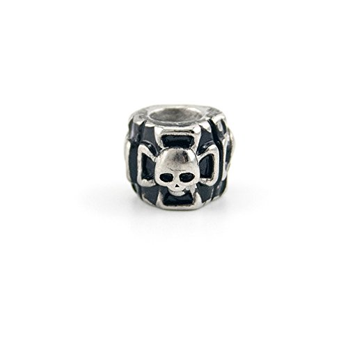 black cross skull Beads slide bead Skull Paracord Spacer Charm for Bracelets Necklace Chain DIY Jewelry Stainless Steel bead (steel)