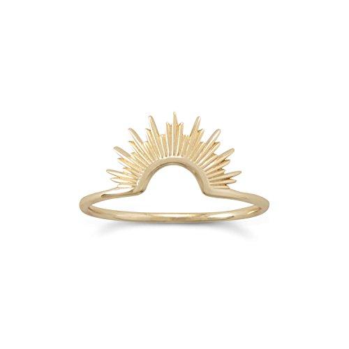 Sunrise Ring Gold-plated Half Sun Design from AzureBella Jewelry