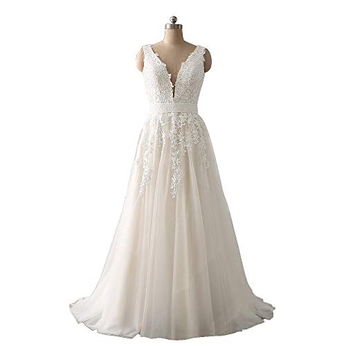 Abaowedding Women's Wedding Dress for Bride Lace Applique Evening Dress V Neck Straps Ball Gowns Ivory US 14
