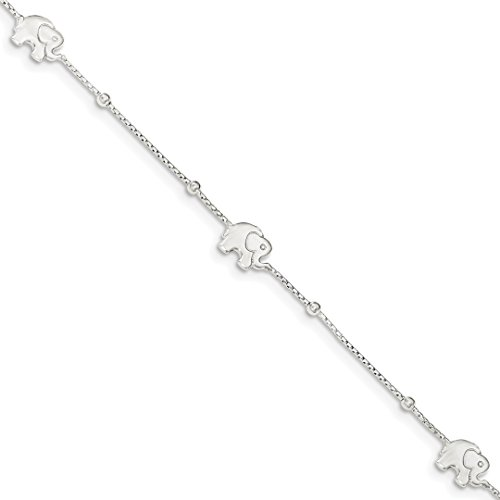 925 Sterling Silver Elephant 2 Inch Adjustable Chain Plus Size Extender Anklet Ankle Beach Bracelet Animal Fine Jewelry For Women Gift Set (Italian Gold Turtle Charm)