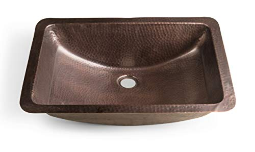 Monarch Abode 17095 Pure Copper Hand Hammered Venetian Dual Mount Sink (21 inches), (Rectangle)