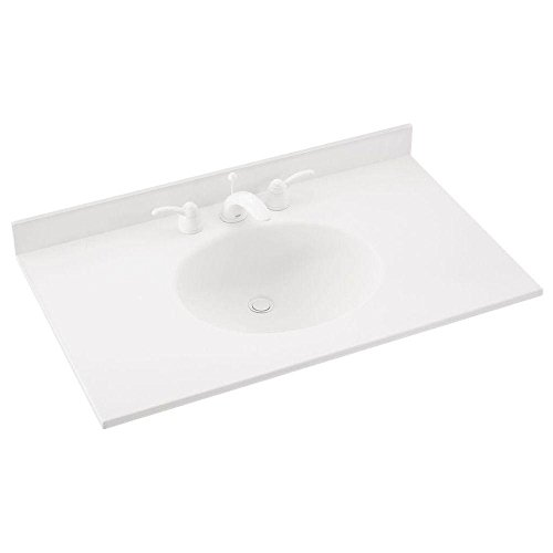 Swanstone VT02231.010 Ellipse Solid Surface Single-Bowl Vanity Top, 31-in L X 22-in H X 7.25-in H, White