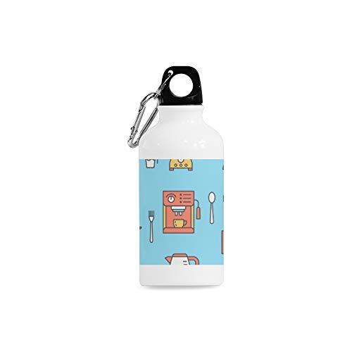 WJJSXKA Outdoor Simple Fashion Travel Coffee Machine Tool Hand Drawn Print Design Sport Water Bottle Aluminum Stainless Steel Bottle Aluminum Sport Water Bottle