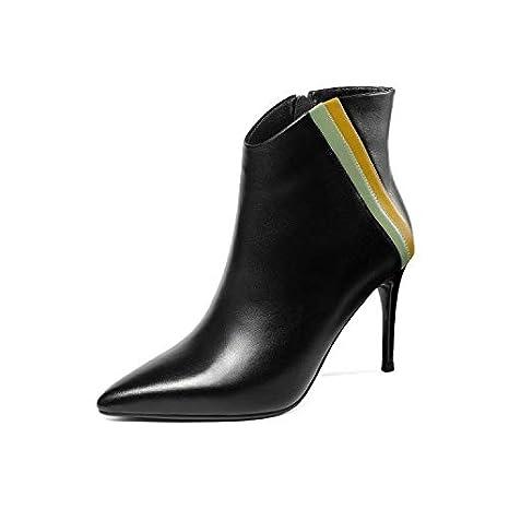 SWEAAY Boots Tacchi Alti in Pelle da Donna Stivaletti con Cerniera Laterali  per Banchi Stiletto A cdfc1a289ee