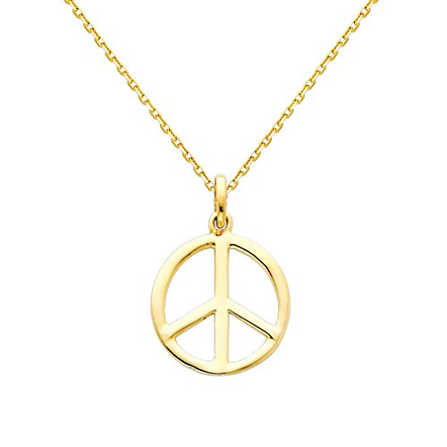 (14K Yellow Gold Peace Sign Charm Pendant with 0.9mm Oval Angled Cut Rolo Cable Chain Necklace -)