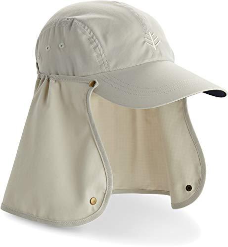 Flap Hats Stone - Coolibar UPF 50+ Men's Super Sport Hat - Sun Protective (Small/Medium- Stone/Navy)