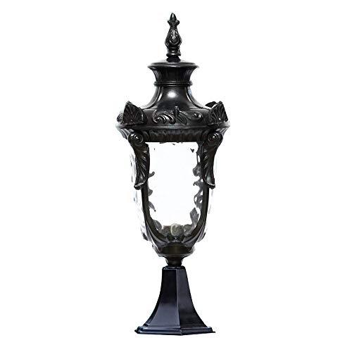 Mpotow European Column Headlight Waterproof IP55 Black Cast Aluminium Bollard Post Lamp IP55 Rated Luxury Craftsman Outdoor Pillar Lantern Lamp Exterior Outdoor Decoration Lighting Lawn Light Garden L ()