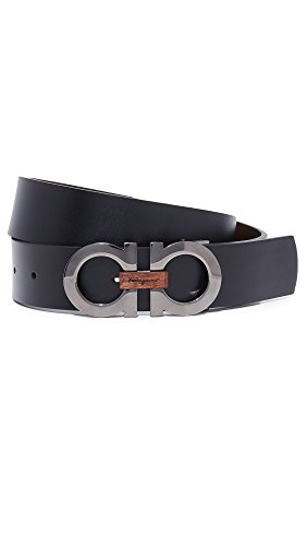 (Salvatore Ferragamo Men's Double Gancio Reversible Belt with Wood Detail, Silver/Black/Brown, 44)