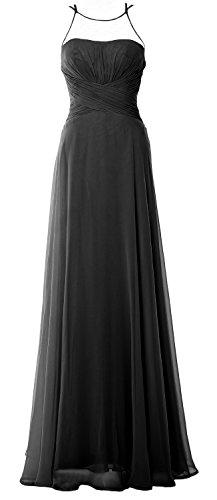 MACloth Women Strapless Chiffon Hi Lo Bridesmaid Dress Wedding Party Formal Gown (EU38, Negro)