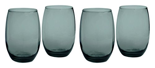 Circleware Uptown Grey Stemless White-Red Wine Glasses, Set of 4, 15 ounce