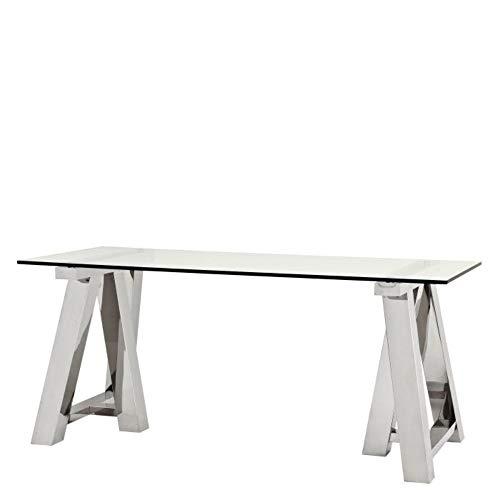 Glass Home Desk | Eichholtz Marathon | Minimalist Glass Silver Framed Office Desk | Modern Luxury Furniture