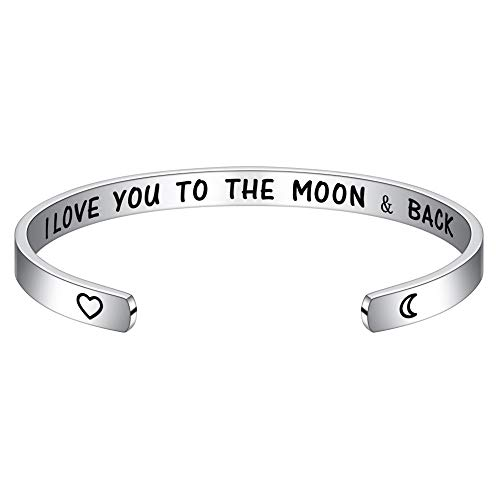 M MOOHAM Gifts for Her Valentines Day - I Love You to The Moon and Back Bracelets Jewelry Gift for Women, Birthday Christmas for Wife Mom Girlfriend (Best Christmas Gifts For Best Female Friend)