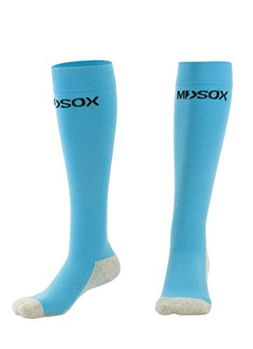 (MDSOX Graduated Compression Socks, Light Blue, Large)