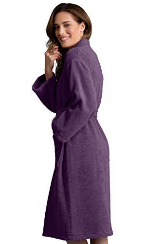 Deluxe Spa-Style Women Terry Kimono Bathrobe Thick Turkish Cotton (Small, Purple) (Terry Style Bath Spa Robe)