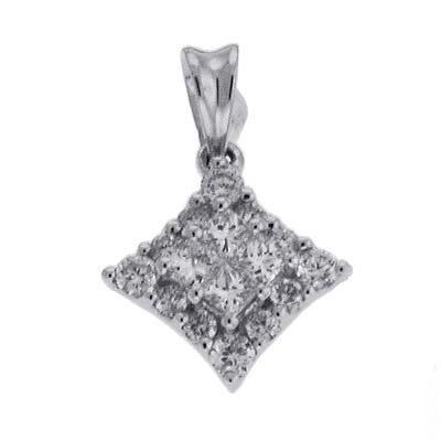 Or blanc 14carats Trendy 0,36ct Diamant Pendentif
