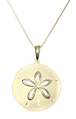 - Yellow Gold Plated Sterling Silver Sand Dollar Necklace Pendant (L) With 18