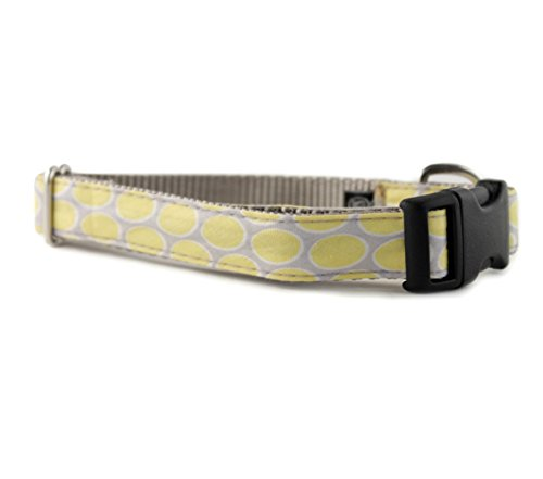 - Sophisticated Pup Yellow + Gray Dot Dog Collar, M - 3/4 in. wide