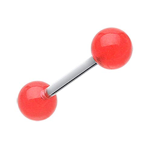 Tongue Red Uv Rings Acrylic (Covet Jewelry Glow in The Dark UV Acrylic Barbell Tongue Ring (Red))