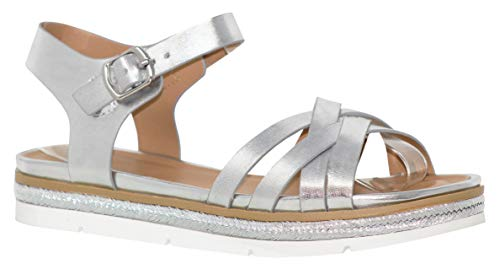 (MVE Shoes Women's Open Toe Braide Strappy Gladiator Sandals, Roaming Silver 11)