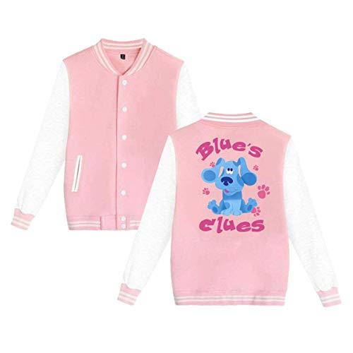 Blue's Clues Dog Mens & Womens Funny Hoodie Baseball Uniform Jacket Sport Coat Pink ()