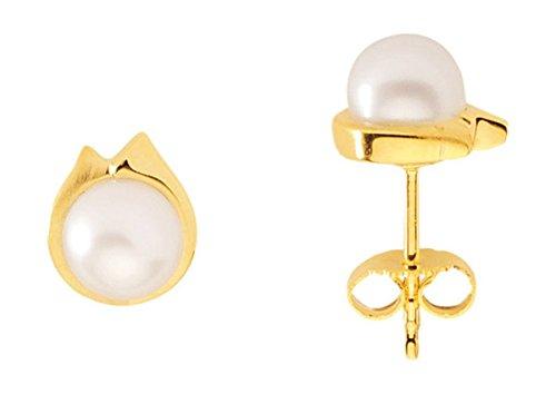 Boucles d'oreille avec perle en or 333
