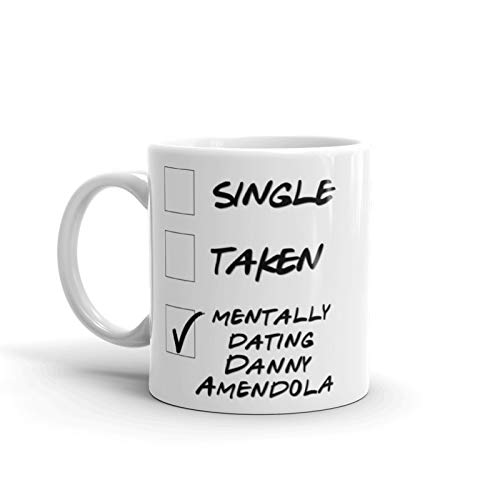 Funny Miami Football Mug. Single, Taken, Mentally Dating Danny Amendola Coffee, Tea Cup. Perfect Dolphins Fan Lover Memorabilia Gift for Women and Girls. 11 ounces.