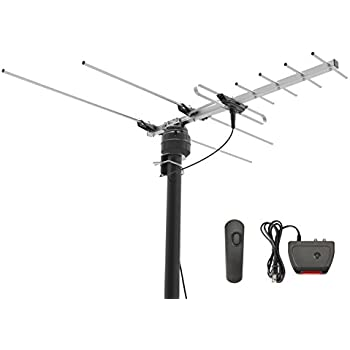 1byone Digital Outdoor Antenna, 60 Miles HDTV Antenna with Motorized 360° Rotation, VHF/UHF Roof TV Antenna with Infrared Remote Control and 50ft High Performance Coaxial Cable-Rotating Antenna
