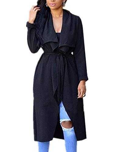 Primaverile Invernali A Cardigan Maglia Donna Outerwear Casual V Moda Eleganti Cintura Giaccone Pieghe Giovane Jacket Lunga Women Elastica Monocromo Autunno Sciolto neck Manica Schwarz Giacca 5vtvxdqwP